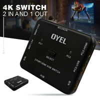 2 Port USB HDMI KVM 4K Switcher Switch Box 2 In1 Out For Mouse Keyboard Monitor
