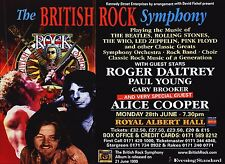 "Tour Poster~British Rock Symphony 1999 Roger Daltrey Alice Cooper 30x40"" London~"