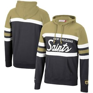 New Orleans Saints Mitchell & Ness COACHES THROWBACK Pullover Hoodie- Gold/Black