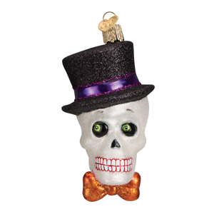 Old World Christmas TOP HAT SKELETON (26068)N Glass Ornament w/ OWC Box