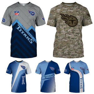 Tennessee Titans Men's Summer Casual T Shirts Football Shirts Crew Neck Tee Top