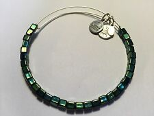 RARE ALEX and ANI Vintage MALACHITE LUSTER Square Beaded Singles BANGLE BRACELET