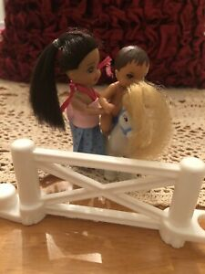 Barbie little sister Kelly doll friend and Baby Boy + Pony w/Fence *Free Gift