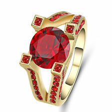 Unique Red Ruby Big Stone Wedding Ring 10KT Yellow Gold Filled Jewelry Size 7