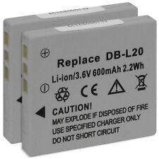 2x Batterie DB-L20 pour Sanyo Xacti VPC-CG6 CG9 CG65 E1 E6