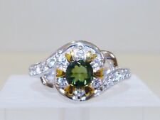 GENUINE 0.40ct! Brazilian Green Tourmaline Ring Solid Sterling Silver 925