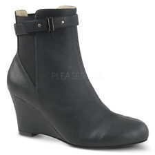 Black Suede Wedge Ankle Boots Mens Drag Tranny Shoes in Womans Sizes 13 14 15 16