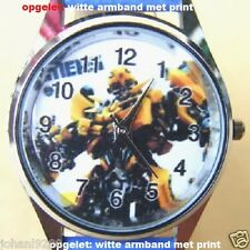 Uurwerk Transformers, witte armband met print  Ø 36,5 mm L =  23,5 cm