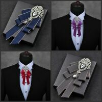 Men Bow Tie Rhinestone Crystal Satin Tied Necktie Formal Wedding Party Retro New