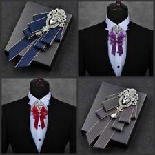 Men Bow Tie Rhinestone Crystal Satin Tied Necktie Formal Wedding Party Retro New