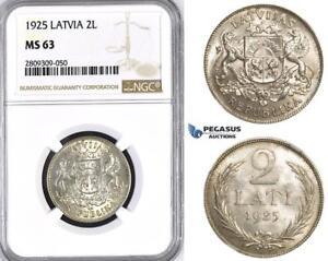 ZM422, Latvia, 2 Lati 1925, Silver, NGC MS63