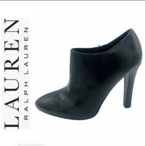 Ralph Lauren Black Leather Stiletto Heel Booties Size 6