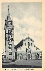 Messina Italy - Il Duomo con l'orologio storico, clock in tower - Vntg Postcard