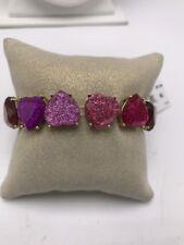 $52 Betsey Johnson  goldtone pk stone glitter heart stretch bracelet M9