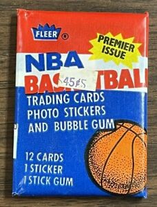 1986 Fleer NBA Basketball Unopened Wax Pack with Isiah Thomas Sticker on back