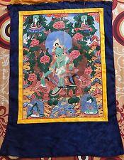 Antique 19 C Tibetian peint à la main Thanka sur tissu, bouddhiste scène