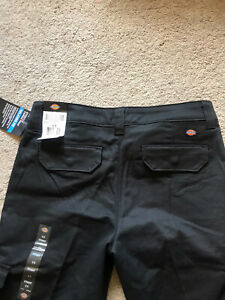 NWT Women's Black DICKIES Cargo Pants Size 6 RELAXED FIT Stretch 33 X 32 NEW