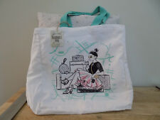 50's Diva Tiffany Blue Accent Shopping Tote Bag Classic 100% Cotton Large New WT
