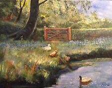 "Nuevo David Aldus u.a Original ""Mill Pond Denham"" lago Woodland dólares pintura al óleo"