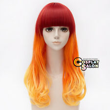 Lolita 55CM Red Orange Yellow Mixed Punk Ombre Party Cosplay Wig Neat Bang+Cap