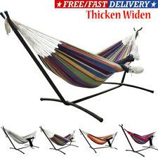 Thicken widen Double Hammock Bed Camping Bed Garden Outdoor Swing Chair w/Bag UK