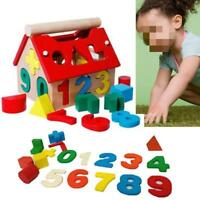 Educational Toy Wooden Number Block House Children Kid Intellectual Building MA