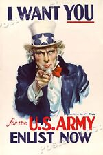 "1940 ""I Want You for the U.S. Army"" Vintage Style WW2 Poster - 16x24"