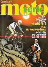 MOTO VERTE  58 YAMAHA DT 125 YZ DTMX HONDA CR RZ XL XLS KTM 250 PARIS DAKAR 1979