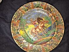 """ANTIQUE ARETINI ZULIMO SGRAFFITO 12"""" ART POTTERY WALL PLATE ~ HORSES"""