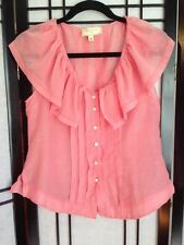 Anthropologie Moulinette Soeurs sleeveless coral pink blouse w/ ruffle collar, 4