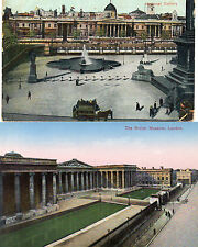 2 cards london British museum and National gallery tinted