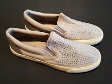 Fiore size 4 (37) grey canvas diamante studs pumps creepers slip on loafers