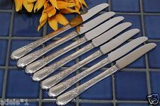 Set of 7 Oneida Rogers Silverplate FLORAL II New French Grille Knives 1938