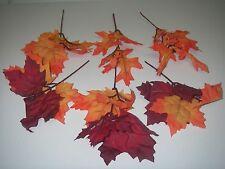 6 Floral Decor Pick Faux Silk Autumn Maple Leaves Craft.