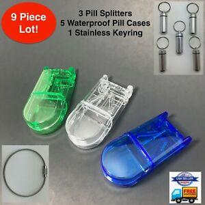9pc Pill Cutter Splitter Tablet Keychain Case Dose Drug Divider Waterproof Lot