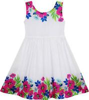 Sunny Fashion Girls Dress Flower Garden Print Elegant Chinese Style Age 2-6