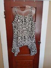 LOVE 21 Women's M White Black Animal Print Spaghetti Strap 100% Poly Lined Shirt
