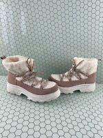 BP 'Summit' Pink Suede Faux Fur Lined Lace Up Platform Boots Women's Size 10 M