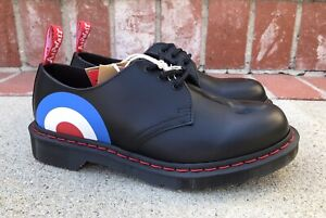 Dr Martens The Who 1461 Size 8 Mens Low Top Combat Boot Black Red White Leather