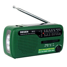 DEGEN DE13 FM MW SW Crank Dynamo Solar Emergency Radio World Receiver LED!  NEW!