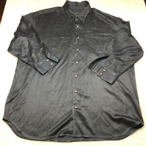 Tommy Bahama Button Up Shirt Mens 3XT Charcoal Gray Long Sleeve Silk Wool Blend