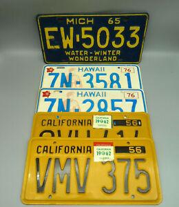 ZD 5x Nummernschild Kennzeichen USA HAWAII 1976 CALIFORNIA 1956 MICHIGAN 1965