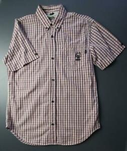 FCUK Button-Front Shirt Cotton Plaid Pocket Men's Small White/Gray/Red
