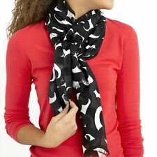 "Imported Fashion BLACK Swirl Scarf 100% Voile Polyester 22.5"" Width x 74"" Length"