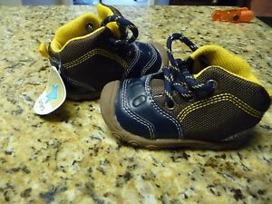 Carter's Child of Mine infant baby size 4 boots brown navy blue lace up shoes
