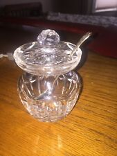 Vintage Lead Crystal Mustard Pot Jar, Sterling Silver Spoon, Condiments, Ketchup