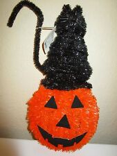 """HALLOWEEN BLACK CAT & PUMPKIN TINSEL WALL DECOR 16"""" NWT"""