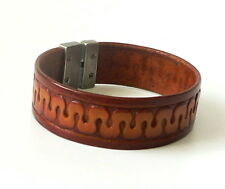 Mens Real Leather Brown Cuff Wristband Bracelet Antique Nickel Finish Clasp