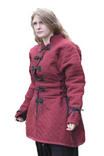 Thick Padded Ladies Full Length Gambeson Coat Aketon Jacket Armor - RED Color