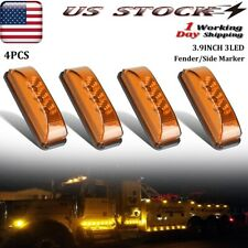 "4x Amber Led Marker Lights 3.9""Clearance Indicator Light For Truck Boat Trailer"